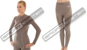 BRUBECK Bielizna termoaktywna damska 1st Layer Silver Thermo Ladies (chocolate) (LS10670+LE10420)